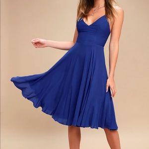 Lulu's Troulos Midi royal blue dress size S